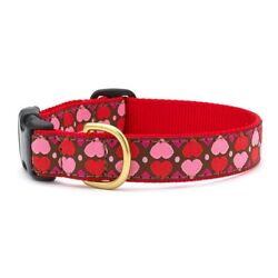 Up Country - Dog Puppy Design Collar -Made In USA - All Hearts - XS S M L XL XXL