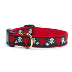 Up Country - Dog Collar -  Made In USA - Hearts & Flowers - XS S M L XL XXL