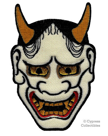 Japanese hannya mask embroidered patch iron on kabuki for Kabuki mask template