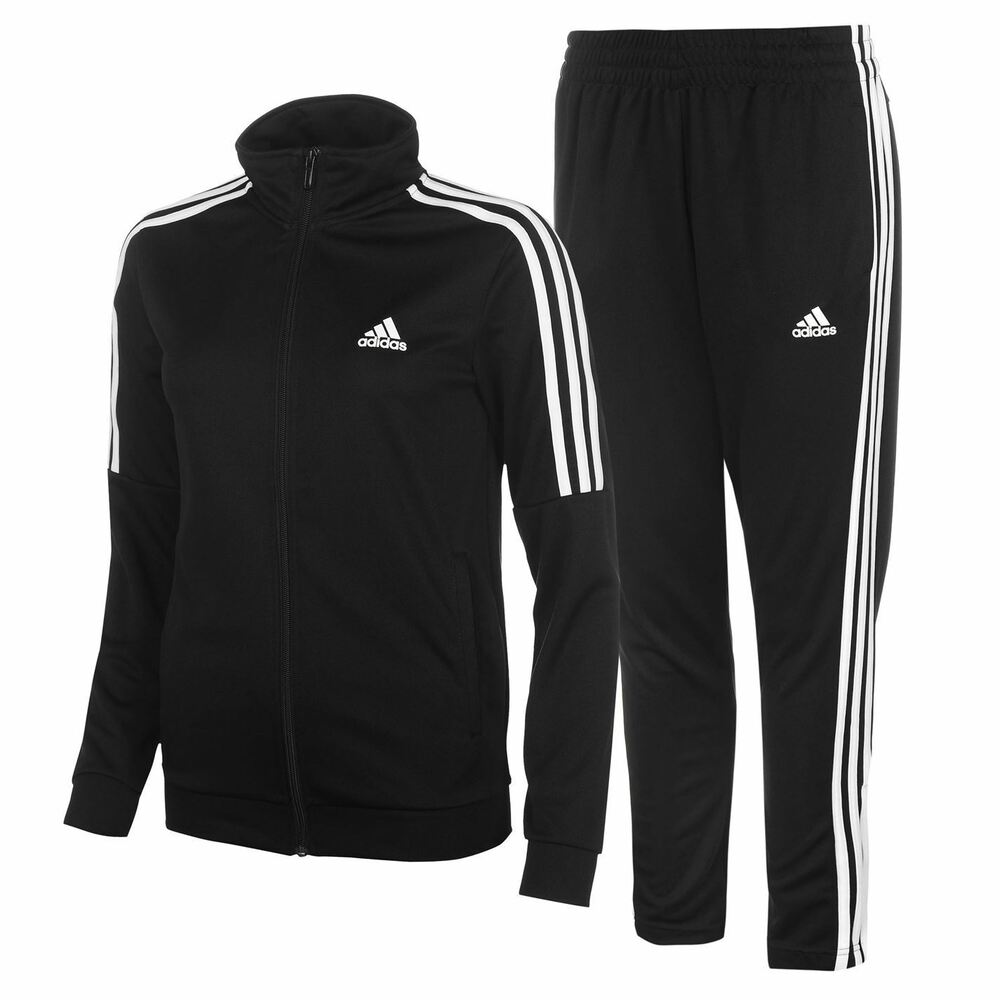 adidas womens tiro tracksuit poly zip full stripe warm elasticated waist ebay. Black Bedroom Furniture Sets. Home Design Ideas