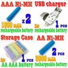 4 x AA +AAA NiMH Rechargeable Battery USB Charger BLUE