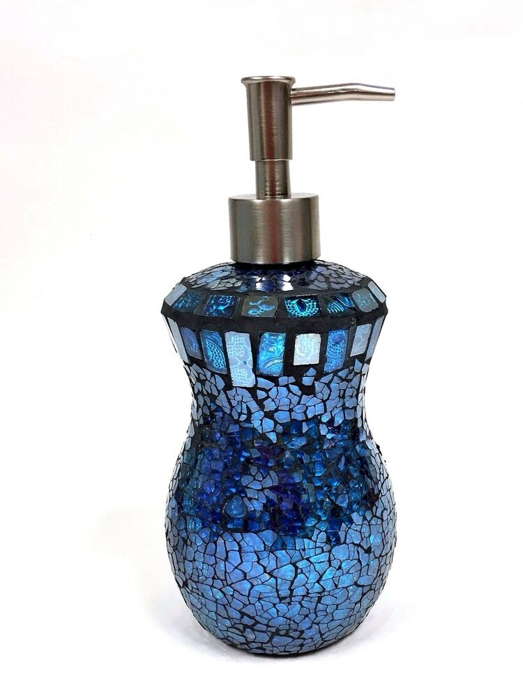 New Teal Blue Cobalt Gl Mosaic Bathroom Soap Lotion Dispenser Ebay