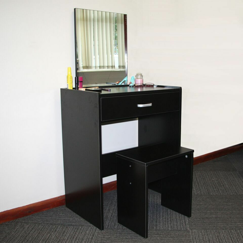Dressing Table Black with Stool and Mirror Bedroom Vanity ...