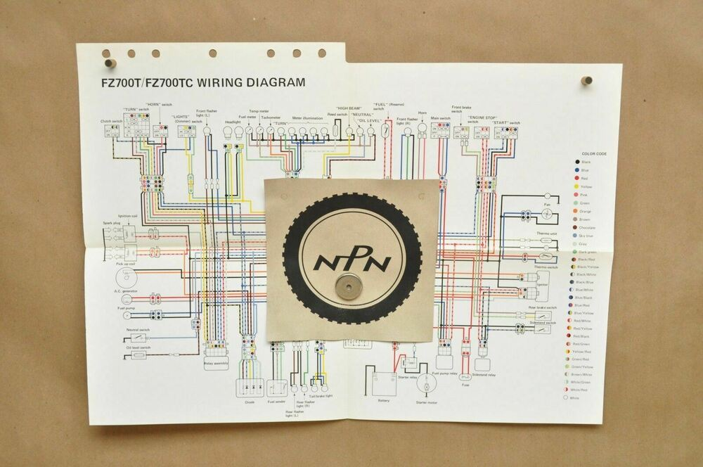 vtg 1987 yamaha fz700 t fz700 tc factory color schematic wire wiring