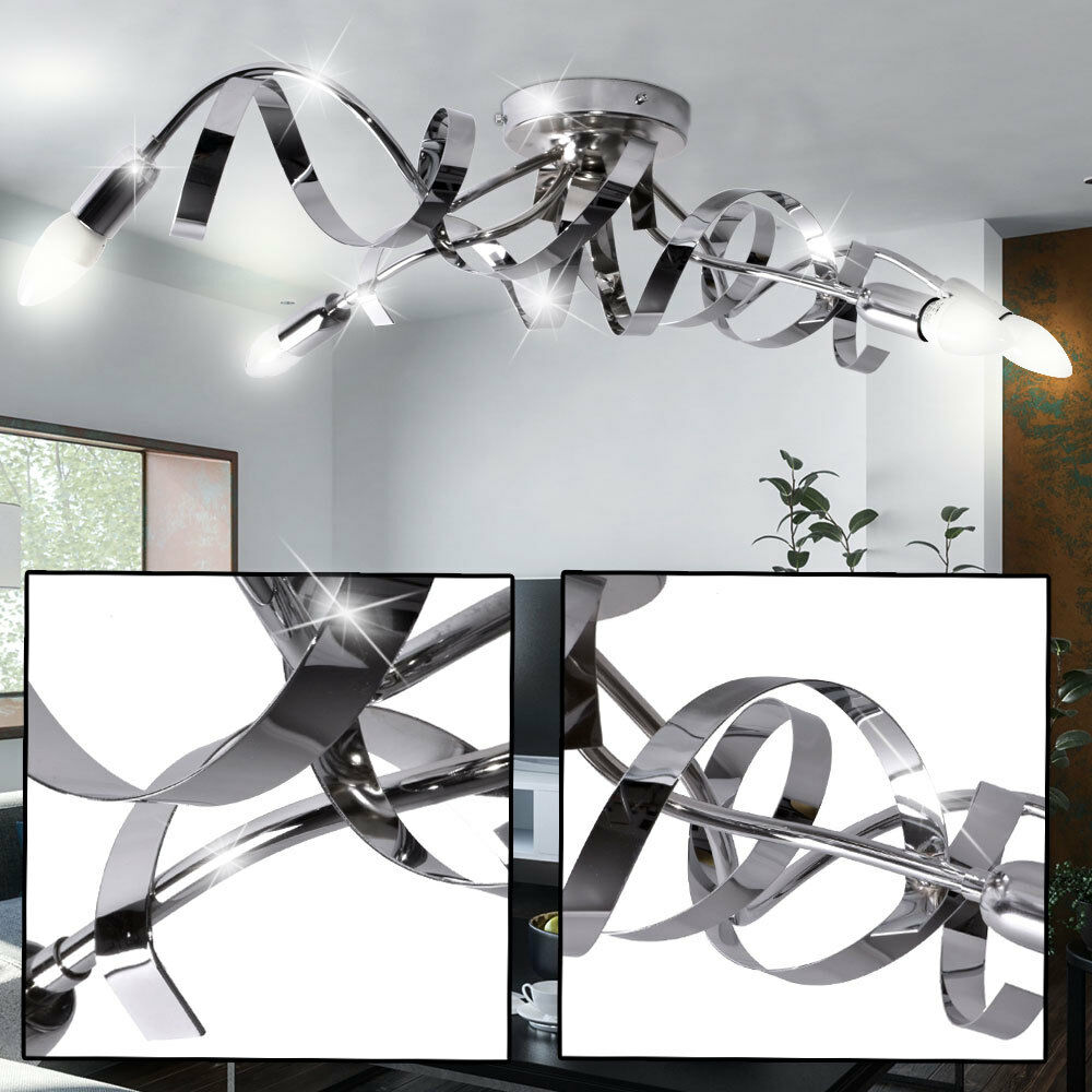 led decken leuchte wohn ess zimmer glas stein beleuchtung alu spirale lampe wofi ebay. Black Bedroom Furniture Sets. Home Design Ideas