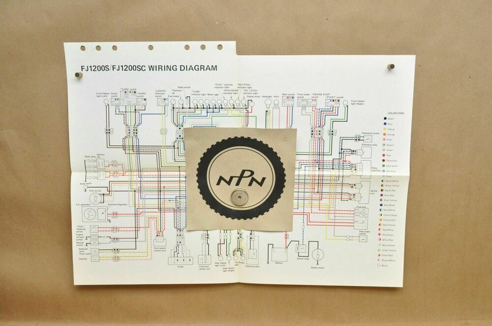 Vtg 1986 Yamaha Fj1200 S Fj1200 Sc Factory Color Schematic Wire