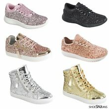 New Fashion Kids Girls Glitter Sneakers Athletic Running Walking Lace Up Shoes