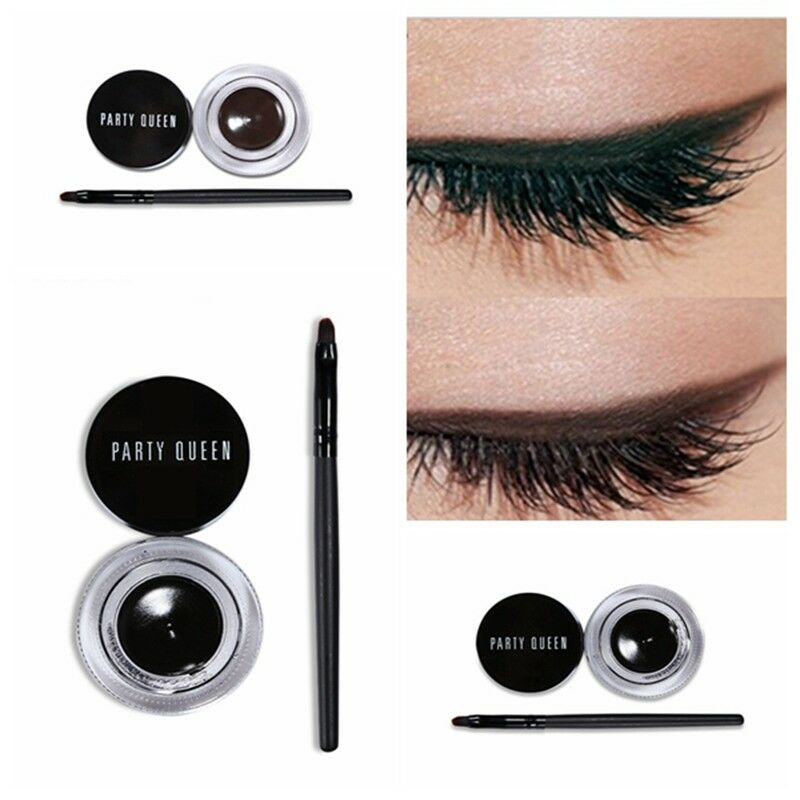47bc38785e1 Details about Waterproof Black Brown Eyeliner Gel Eye Makeup Eye Liner  Cream With Brush Kit