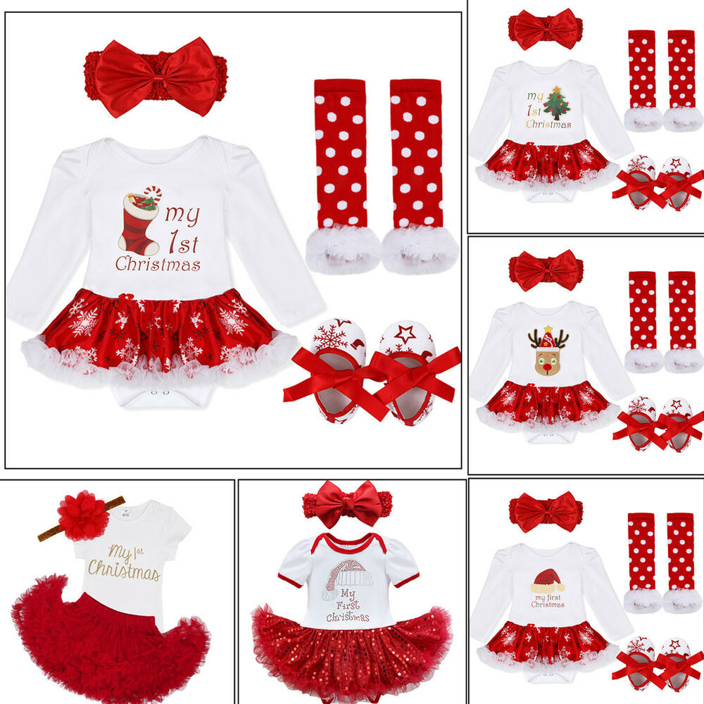 e9b198106 Details about Baby Girl Infant Christmas Tutu Skirt Dress Romper Headband  Outfits Xmas Clothes