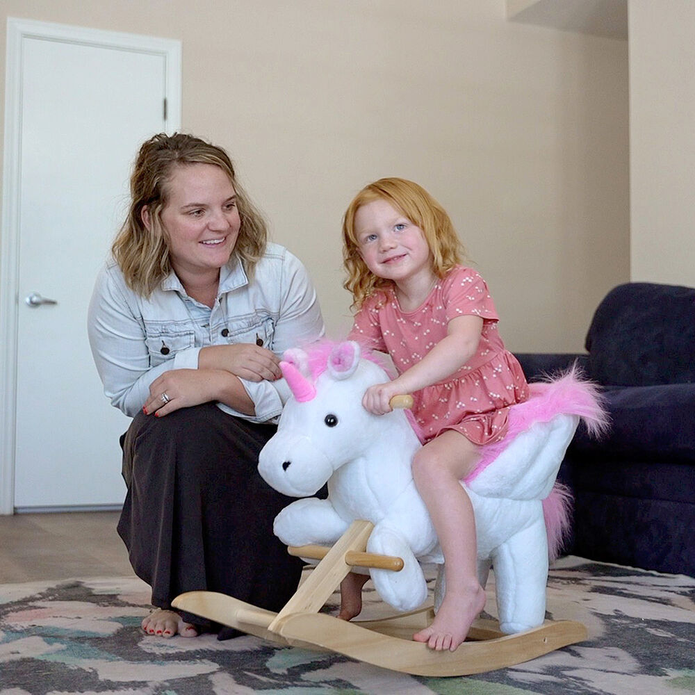 Qaba Baby Kid Toy Wooden Plush Rocking Horse Little