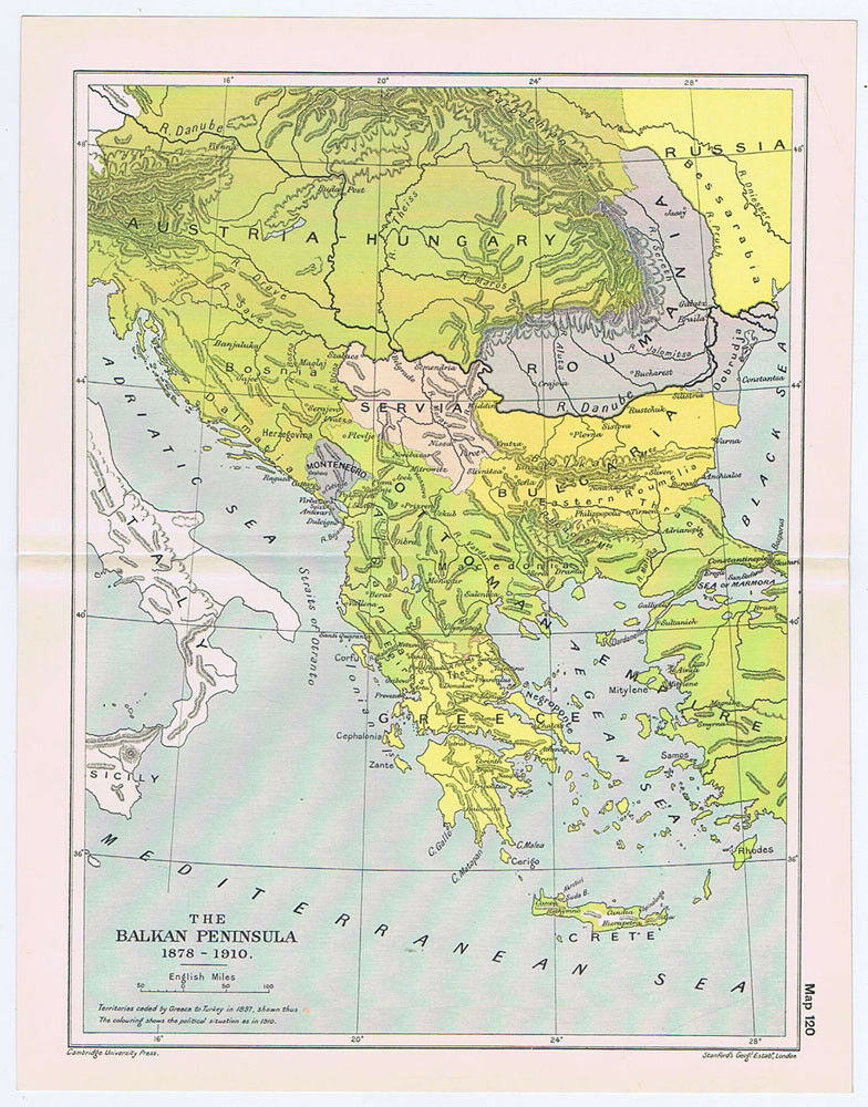 BALKAN PENINSULA During the Years 1878-1910 Antique Map 1912 | eBay