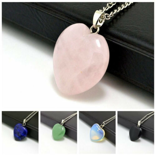 Natural Quartz Stone Gemstone Heart Rock Healing Point Chakra Pendant Necklace