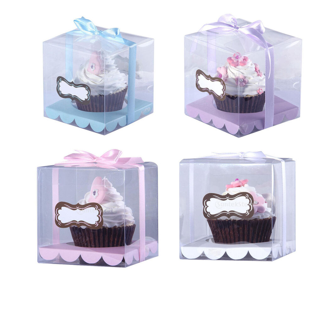 12x Clear Plastic Cube Cupcake Boxes Mini Cake Container Gift Case ...