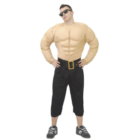 img-FAKE MUSCLE Chest Shirt Wrestler Fancy Dress Superhero Bodybuilder Costume