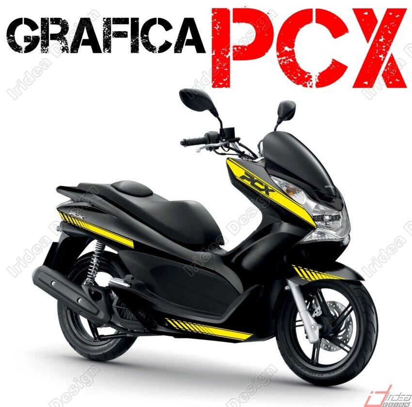 kit adesivi decal stickers honda pcx 125 150 racing carene giallo grafiche ebay. Black Bedroom Furniture Sets. Home Design Ideas