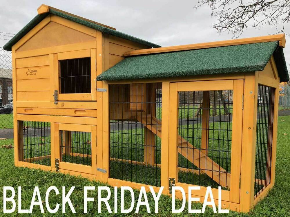 5ft Outdoor Rabbit Hutch And Run With 2 Two Tier Wooden Guinea Pig Bunny Pet Ebay