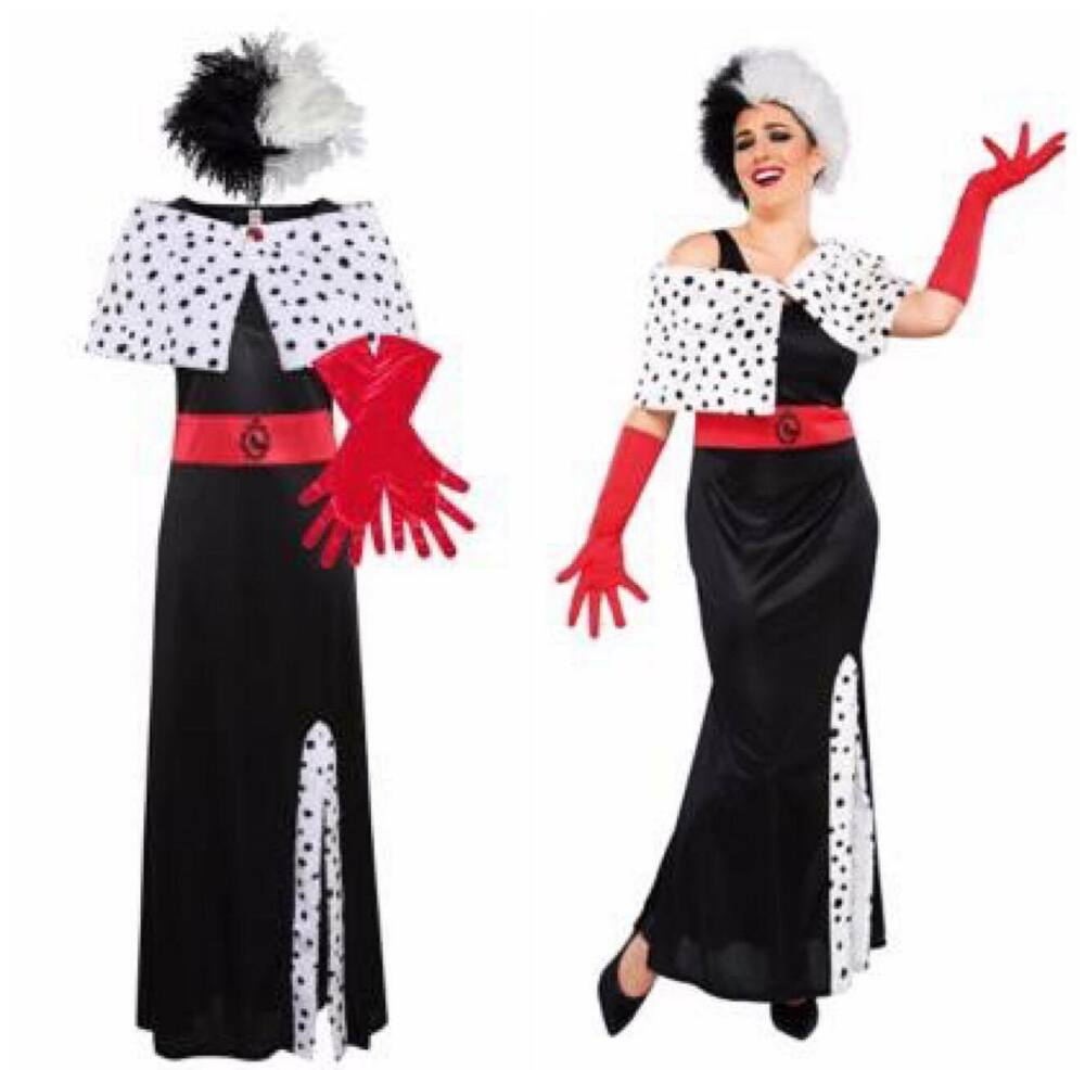 ladies disney villains cruella de vil ville fancy dress. Black Bedroom Furniture Sets. Home Design Ideas