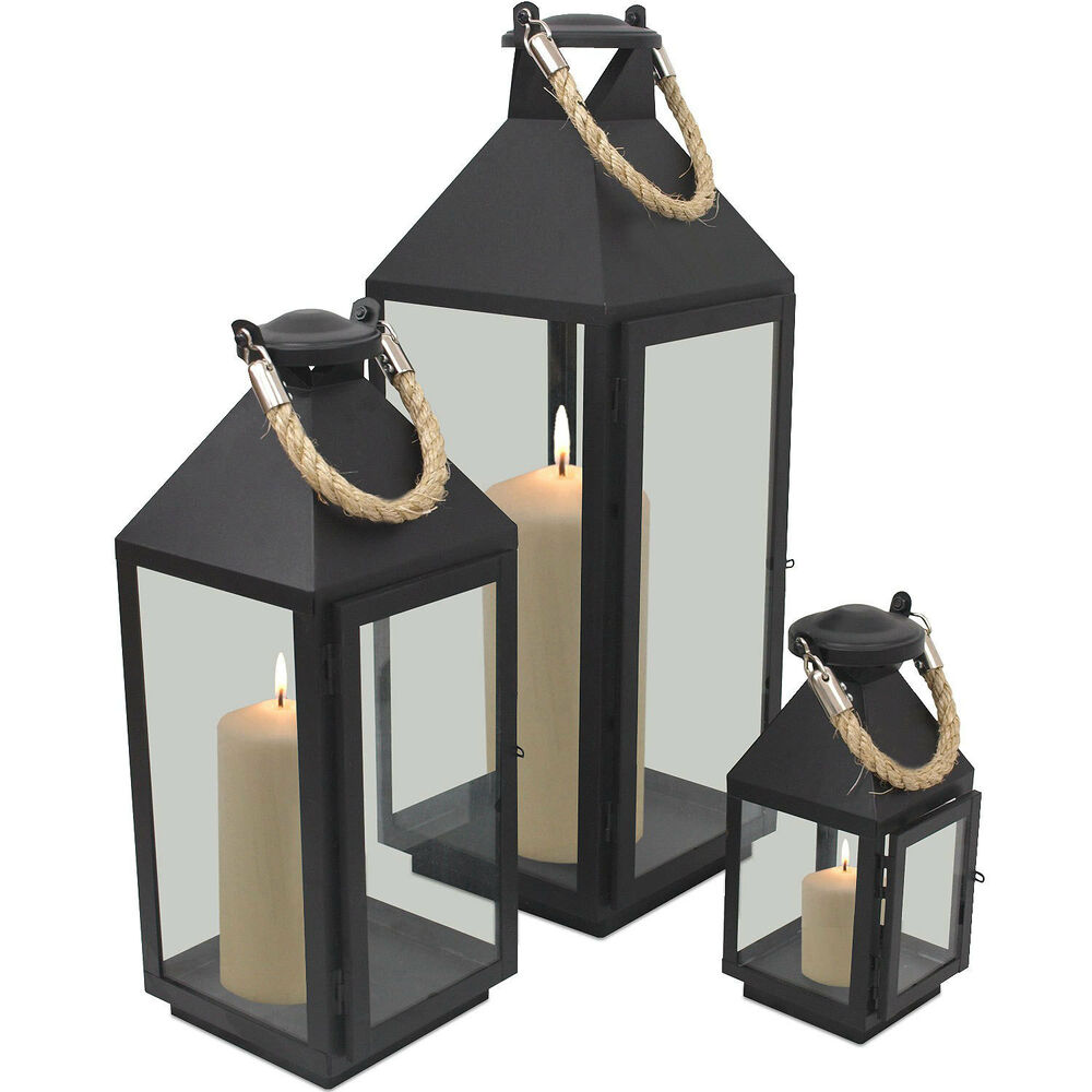 laterne windlicht set kerzenhalter h24 41 55cm metall gartenlaterne schwarz 3tlg ebay. Black Bedroom Furniture Sets. Home Design Ideas