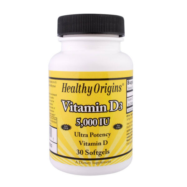 Healthy Origins - Vitamin D-3 5000 IU 30 softgels - tascabile - Vitamina D3