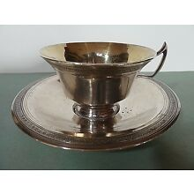 MEXICAN SPANISH COLONIAL SILVER TEA CUP & SAUCER, GOLD WASHED INTERIOR