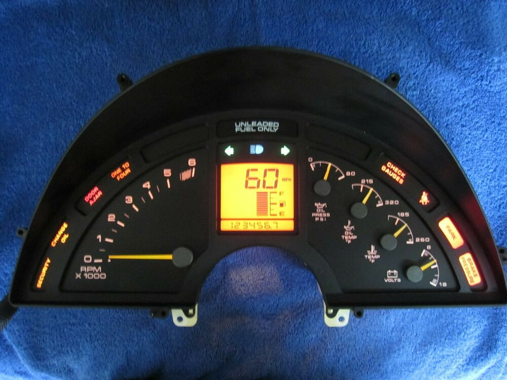 Digital Car Gauges Cluster : Corvette c digital analog dash instrument cluster rebuilt