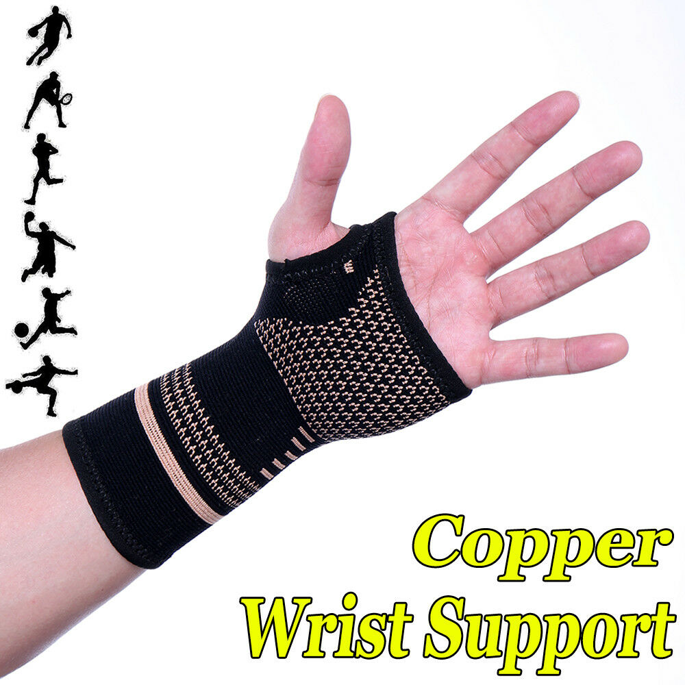 9dcdacc0e0 Details about Copper Infused Wrist Support Hand Palm Brace Compression  Glove Arthritis Sleeve