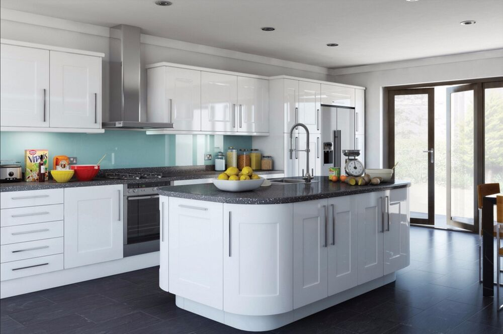 Details about High Gloss White Kitchen Unit Cupboard Doors Drawers to fit all kitchen Cabinets & High Gloss White Kitchen Unit Cupboard Doors Drawers to fit all ...