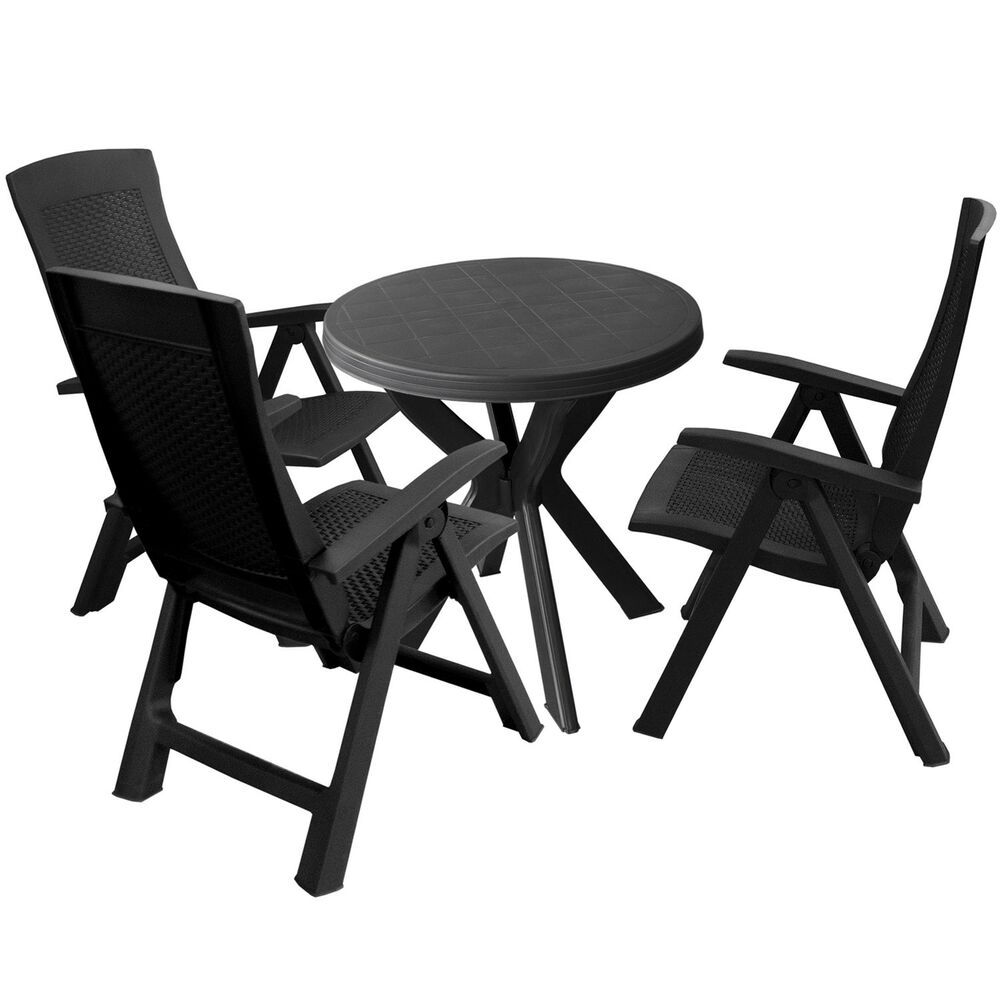 gartengarnitur balkonm bel set kunststoff gartentisch rund 70cm 3x klappst hle ebay. Black Bedroom Furniture Sets. Home Design Ideas