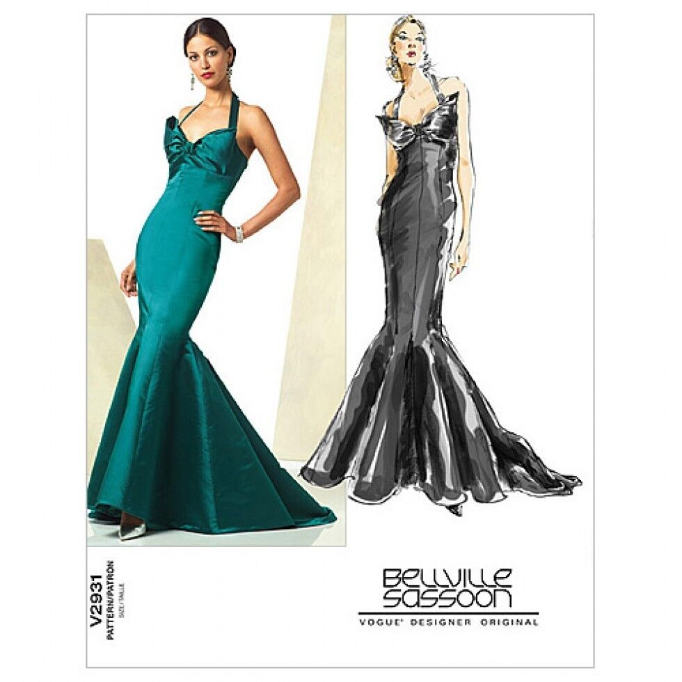 Vogue Ladies Sewing Pattern 2931 Fishtail Evening Dress with Train ...