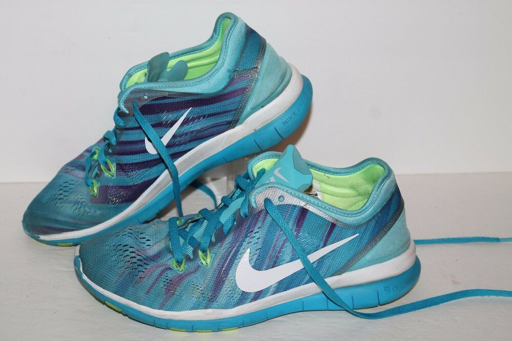 Nike Free 5 TR Fit Blue Print Running Shoes #704695-400 Blues Womens US 6.5