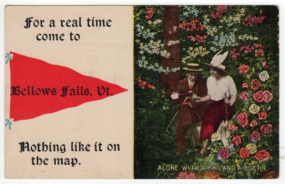 BELLOWS FALLS VERMONT Pennant PC Postcard NOTHING LIKE IT ON THE MAP