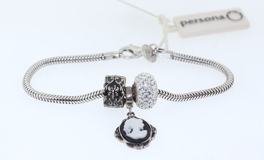 649098023 Details about PERSONA Sterling Silver Charm Bracelet with Black Enamel  Cameo & Rhinestone bead