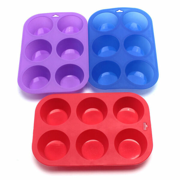 6pc Square Silicon Muffin Pan Baking Cooking Tray Mould Bake Cup Cake Mini