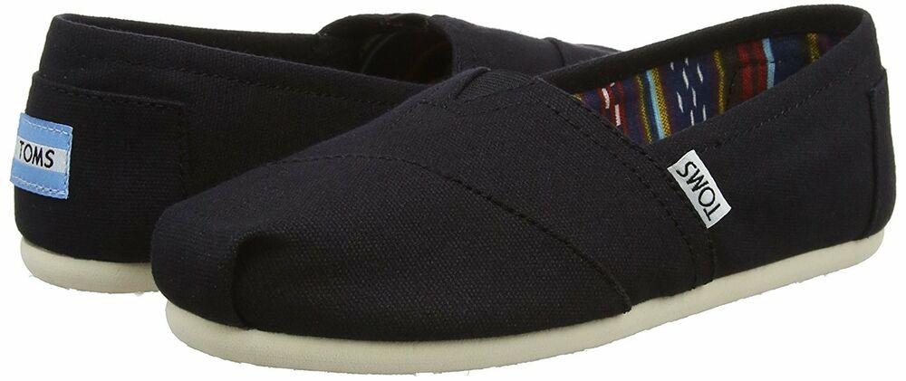 Details about NEW TOMS Women s Classic Solid Black Canvas Slip On Flats  Shoes NIB 1604ea8baced