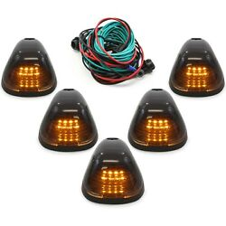 Kyпить 5 Smoke Cab Marker Light w/ Amber LED Assembly & Wiring Fits 99-16 Ford 250-550 на еВаy.соm