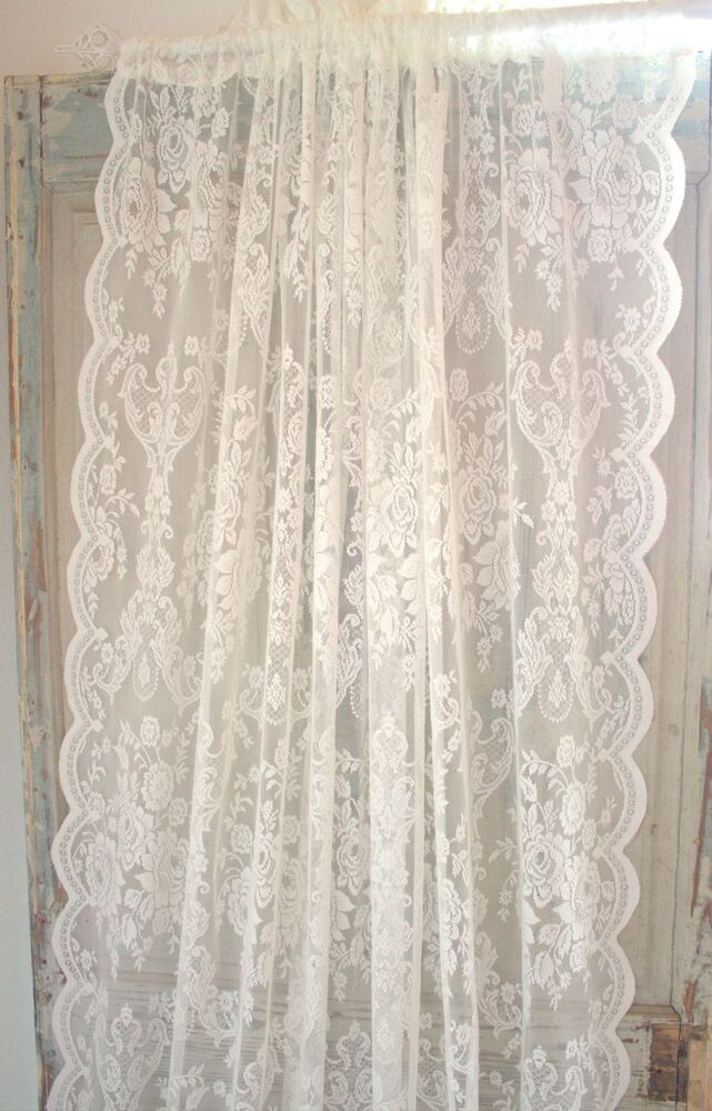gardine lucia offwhite spitzen rosen 2 x 120x240 vintage shabby curtain brocant ebay. Black Bedroom Furniture Sets. Home Design Ideas
