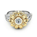 Women 925 Silver Sunflower Yellow Hollow Carved Rings Wedding Party Jewelry Gift