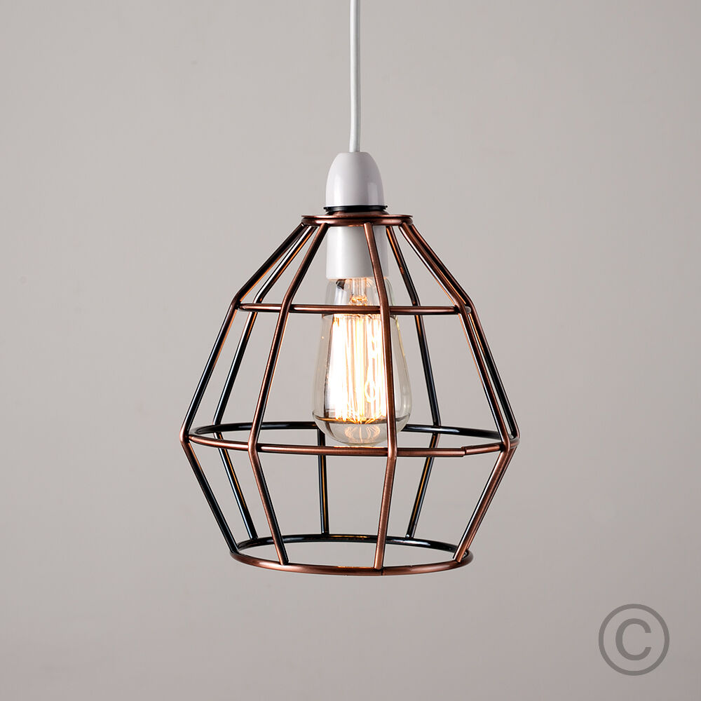 Modern Copper Metal Wire Frame Ceiling Pendant Light Lamp Shade ...