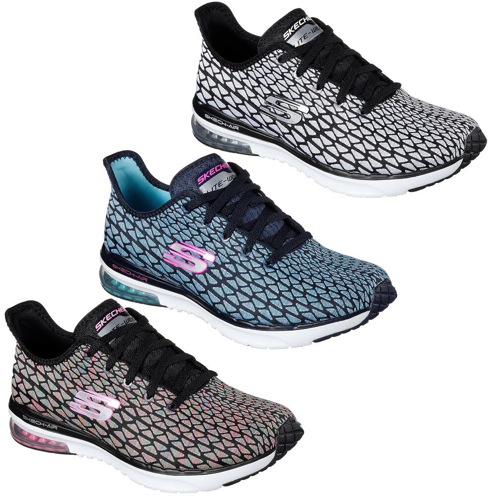 Womens Skech-Air Infinity-Free Falli Trainers, Navy/Turquoise Skechers