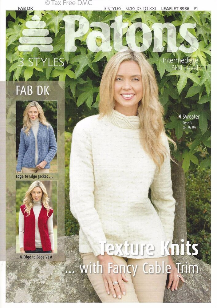0f679ed13 VAT Free Knitting PATTERN ONLY Patons Ladies Texture Knits Jacket Vest 3936  New