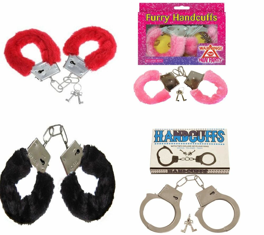 Pink And Black Handcuffs: FURRY FLUFFY PINK BLACK RED METAL HANDCUFFS FANCY DRESS