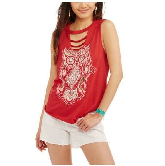 524851294ef13 Details about No Boundaries Tank Top Owl Strappy Sleeveless Rusty Red NEW