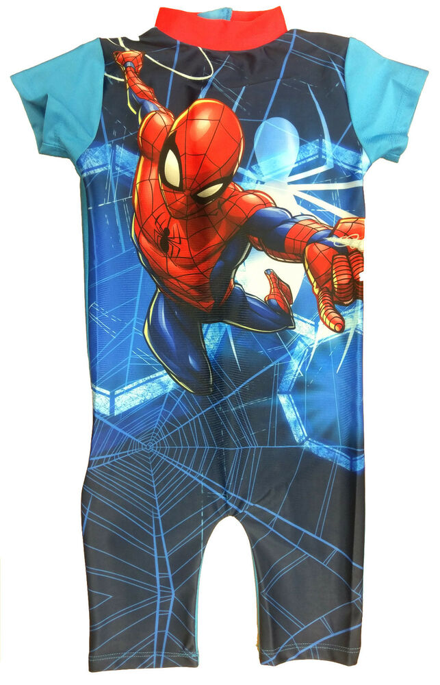 7ea9333b89 Boys Spiderman Swimming Costume Kids Swimsuit UV Protection Beach Body Sun  Suit | eBay