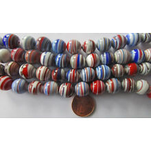 25 VTG Japanese Glass 10mm (Avg) Red White Blue Swirl Round Beads: No 2 Alike!