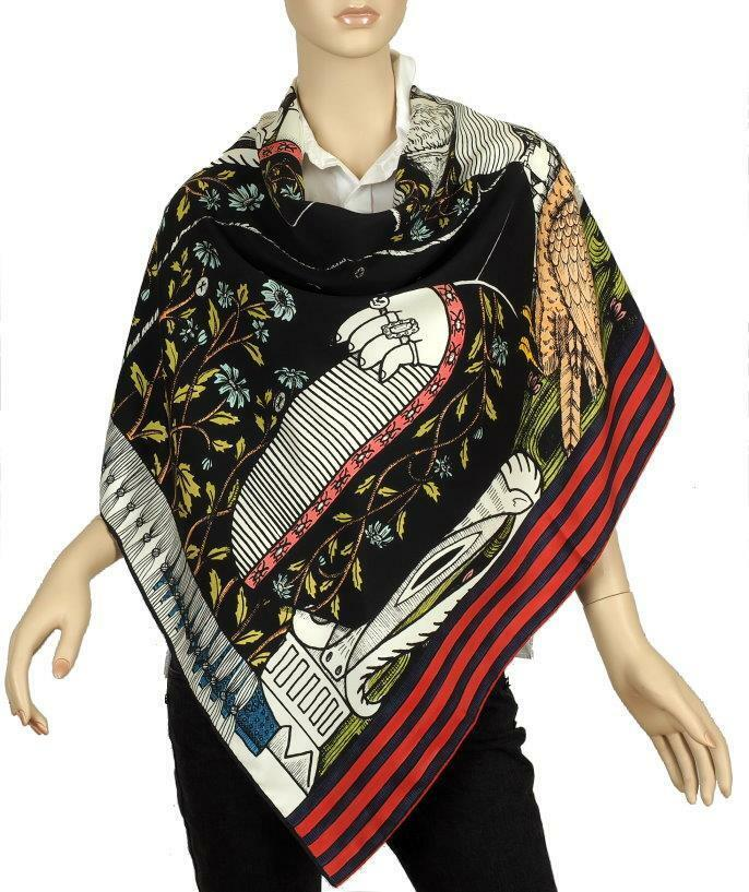 9ec4b84c1e7948 Details about NEW GUCCI CURRENT EMPEROR PRINTED WEB BORDER SILK SHAWL WRAP  SCARF STOLE