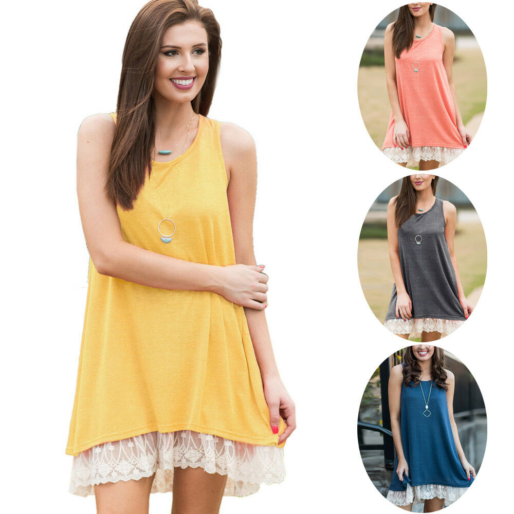 2f83629ab8b1 Details about Women s Casual Swing Sundress Sleeveless Solid Loose T-Shirt Dress  Lace Trim New
