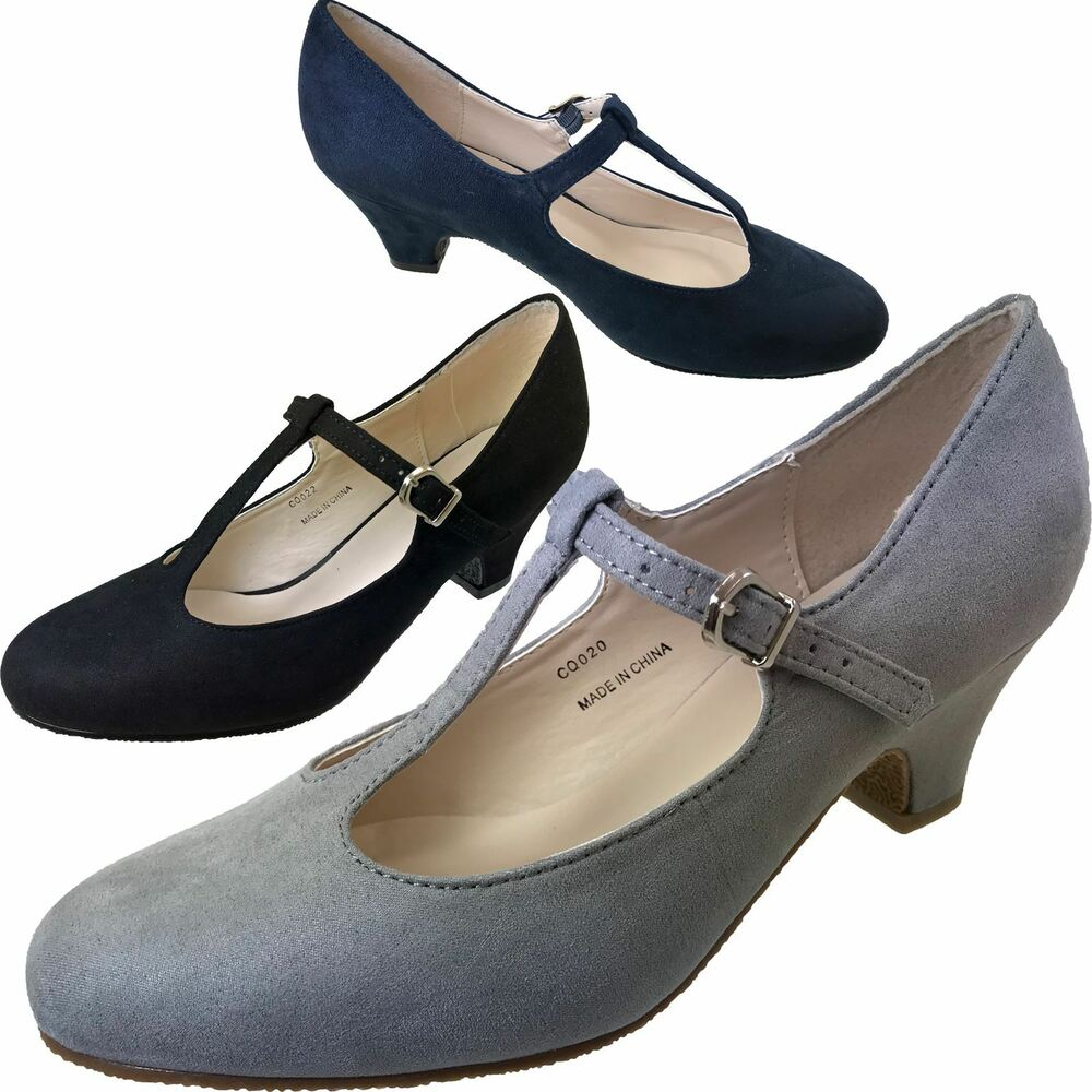 b3c6f2f33866 Details about Ladies Black Grey Navy Blue Faux Suede Mary Jane Wide Fit  Wedding Court Shoes