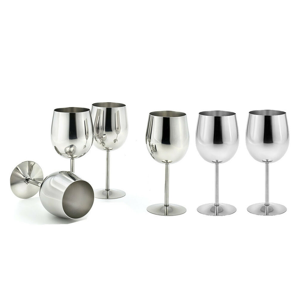 6 Pieces Metal Wine Champagne Drinks Cups Glasses Goblets For Home