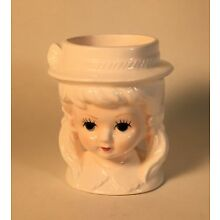 Vintage 1960's or early 70's  Ceramic Little Girl Small Head Vase