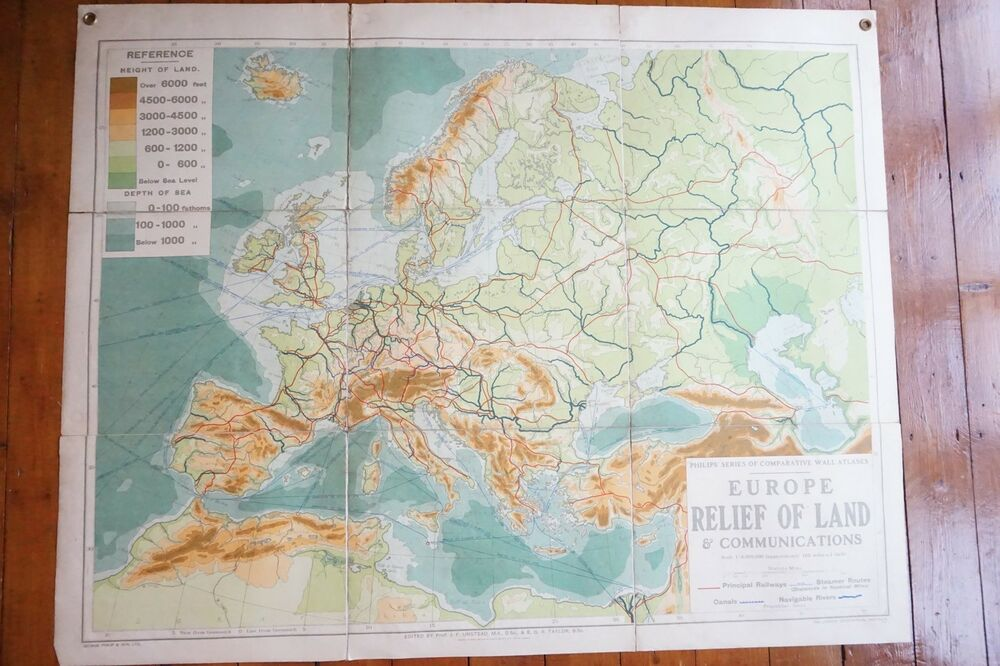 Map Of Europe 1950s.1950s Philips Large Wall Map Europe Relief Of Land Railways Steamer
